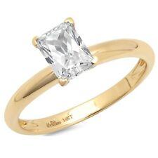 1.0 ct Emerald Cut Moissanite Wedding Bridal Promise Ring 14k Yellow Gold