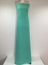 "Aqua green polka dot peachskin crepe dress fabric 58"" M252 Mtex"