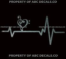 Heart Beat line MUSIC TREBLE CLEF BASS love Symbol Sheet Music CAR VINYL DECAL