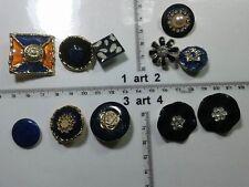 1 lotto bottoni gioiello stras smalti perle blu nero buttons boutons vintage g10