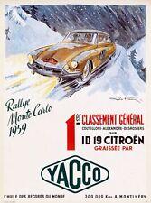 1959 Monte Carlo Rally Citroen Poster A3 Print