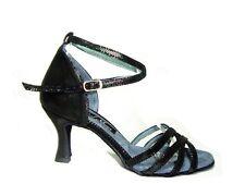 MONDIAL SHOES 05 scarpe da ballo sandali donna tacco 70/R nero pelle aperti