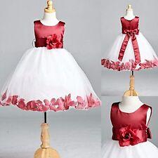Burgundy Rose Petal Dress White Tulle Bridesmaid Satin Autumn Holiday Gown #22