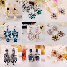 Fashion Women Lady Elegant Crystal Rhinestone Pearls Ear Stud Earrings Ear Clip