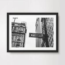 Wall Street St signo de la ciudad de Nueva York Póster de Impresión de Arte Pared Decoración Hogar Negro Blanco