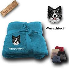 Fleecy Cuddle Blanket Blanket Dog Border Collie + Custom Text, Embroidery,