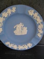 """Wedgwood Blue Jasperware Greek People & Angel Round Tray 4 3/8"""""""
