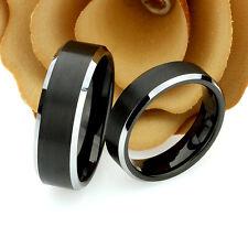 Custom Engraving, Tungsten Wedding Band Set, 8mm, 6mm, Two Tone Brushed Black