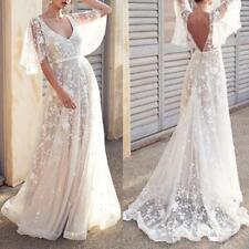 Women Girls Boho Wedding Dress V Neck Cap Sleeve Lace Beach Wedding Gown