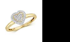 9ct Yellow Gold Heart Design Multi Set Diamond Ring 0.25ct