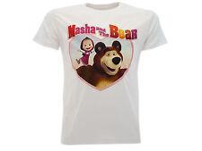 camiseta Masha e Soportar Corazón En blanco