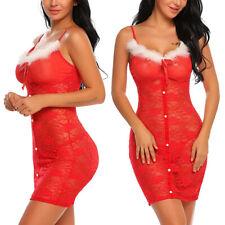 Women Sexy Lingerie Lace Santa Christmas Cosplay Sleepwear Xmas Fancy Dress US