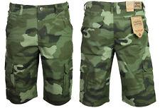 New Mens KAM Cargo Camo Shorts Dark Green Camouflage Regular Big Plus Size Waist