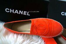 CHANEL Suede Leather Espadrilles Flats Cap Orange Double Sole 35 36 37 38 39 40