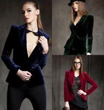 womens Slim short OL velvet blazer Blouses Skinny jacket Lady Vogue suits Hot #