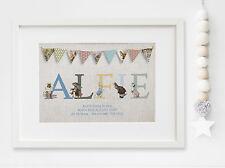 Personalised New Baby Peter Rabbit Name Birth Nursery Print ChristeningUNFRAMED