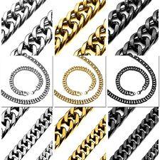Armband + Halskette Silbern Edelstahl Panzerkette Set Herrenschmuck Königskette