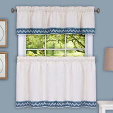 Camden Macrame Trimmed Beige & Blue Kitchen Window Curtain Tiers or Valance