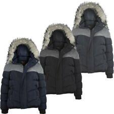 Boys Padded Contrast Insert Winter Fleece Jacket Teen Detach Hood Coat 3-14
