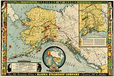 Midcentury Map Territory of Alaska Canada US Home School Office Wall Art Poster