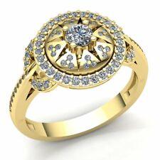 Genuine 3ct Round Cut Diamond Ladies Bridal Pave Halo Engagement Ring 14K Gold