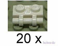 LEGO - 20 x Platte 1x2 weiss mit Halter / Griff / Stange / 2540 NEUWARE