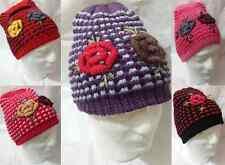 Nouveau femmes hiver beanie chapeau de laine tricoté femme fleur fashion large hat 6 colou