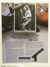 vintage magazine advert 1984 SHURE SM57 / BILLY SQUIER
