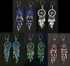 Ohrringe Traumfänger + Perlen Indianer Schmuck Peru, weiß türkis blau grün braun