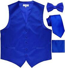 New Men's tuxedo Vest Waistcoat_Necktie, Bowtie & Hankie Set Royal Blue formal