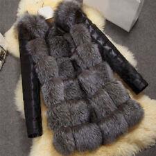 Womens Winter Fox Fur Collar Coat Warm PU Leather Jacket Parka Warm Outwear HOT