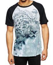 Leopard Face in Snow Men's All Over Baseball T Shirt - Animals Cute Wild Jungle