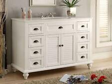 "Benton Collection Glennville White Modern Home Bathroom Vanity GD-28327 49"""