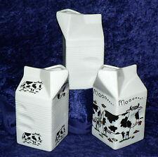 Latte cartone a forma di brocca biancastro ceramica decorata con mucche. 2 Taglie 3 Design