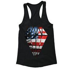 American Flag distressed Diamond 4th of July Racerback Clothing USA Tanktop