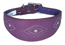 Leather Purple Whippet Collar, Greyhound Collar Diamante Diamond Stitch Design