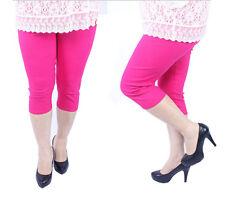 Elegance Womens Plus Sizes Cropped 3/4 Elasticated Plain Viscose Leggings