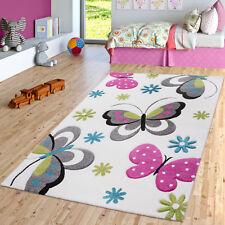 Schmetterling Teppich Creme Grau Grün Kinderzimmer Teppiche Butterfly Design