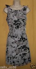 Andre' Oliver women's black gray ruffle side zip dress sleeveless top 10 $120