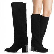 Women Winter Round Toe Block Heel Pull On Mid Calf Knee High Boots Clubwear Punk