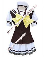 Shuffle Girl School Uniform Cosplay Brown White Party Dress Costume Halloween