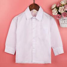 NEW White Shirt Kids Boys Cotton Long Sleeve Formal Lapel Casual Soft T-Shirts