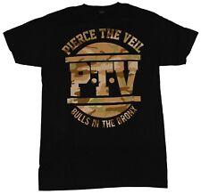 Pierce The Veil Mens T-Shirt - Camo Style PTV Bulls in the Bronx Image