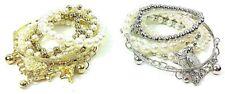 Set 6 Bracciali elastici multipli con perline e pendenti Oro Argento Moda Donna