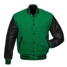 Green Pure Wool Varsity Letterman College Jacket Black Genuine Leather Sleeves