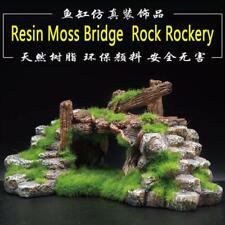 Aquarium Resin Moss Bridge Fish Tank Ornament Decor Landscape Rock Stone Bridge