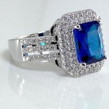 Brilliant Montana Sapphire Blue Clear Silver CZ Crystal Ring 18KGP Emerald Cut