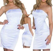 SeXy Miss Damen Mini Kleid Bandeau Pencil Satin Dress weiß S 34 M 36 L 38 NEU