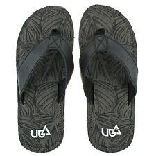 Herren Urban Beach Colorado grau schwarz Leder Zehensteg Flip Flops Strand Sandalen