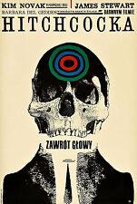 Vertigo Polish Movie Poster |4 Sizes| **Rare** Alfred Hitchcock Retro DVD BluRay